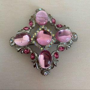 VINTAGE Pink Silver Brooch